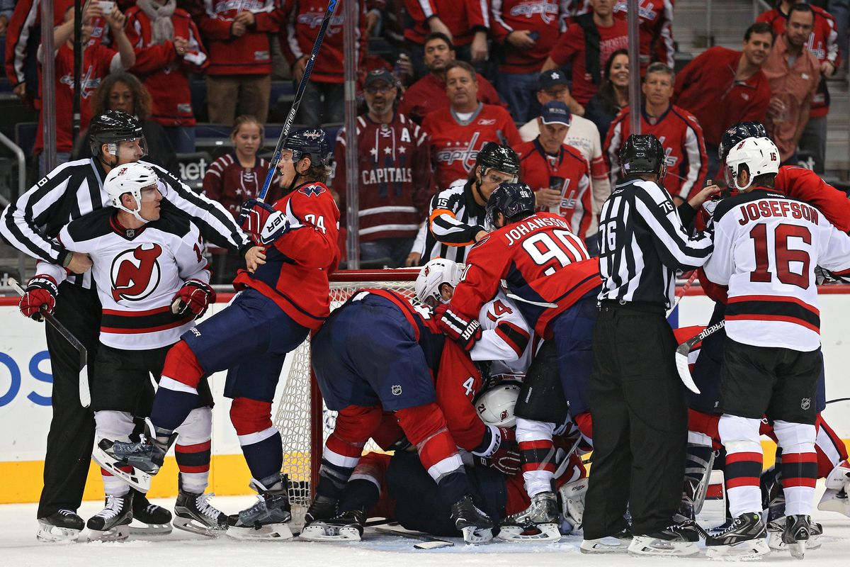 The Devils fought to the bitter end in a 3-5 loss to the Capitals.  Sometimes literally.