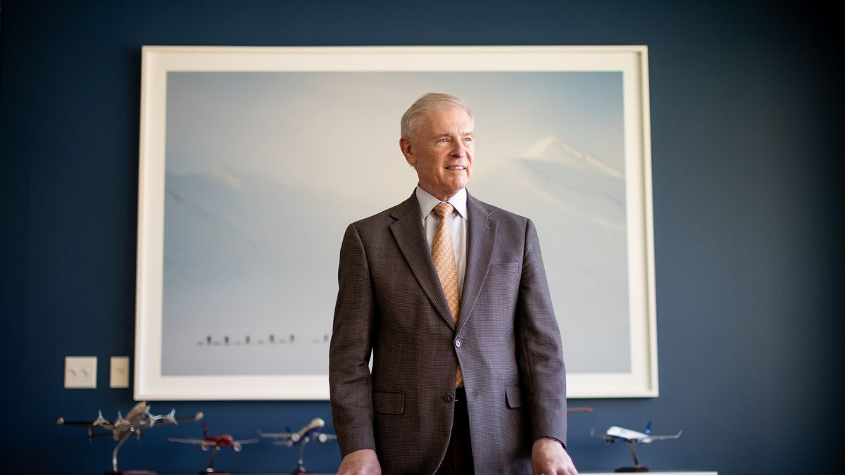 Joel Peterson poses for a photo at the offices of his investment firm, Peterson Partners, in Cottonwood Heights on Monday, June 7, 2021.