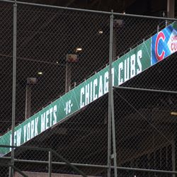 4:08 p.m. The ribbon display board, in the left field corner of the upper deck -