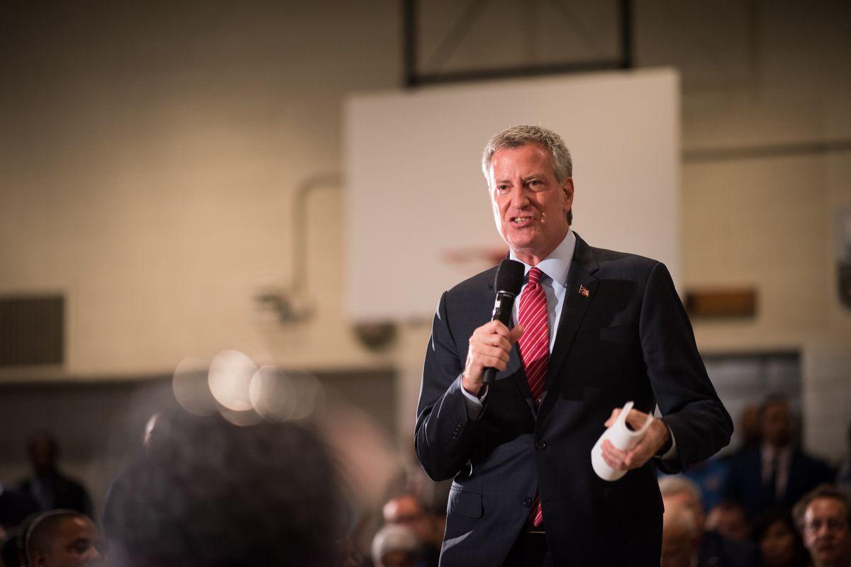 Mayor Bill de Blasio hosts a town hall in Brooklyn in October.