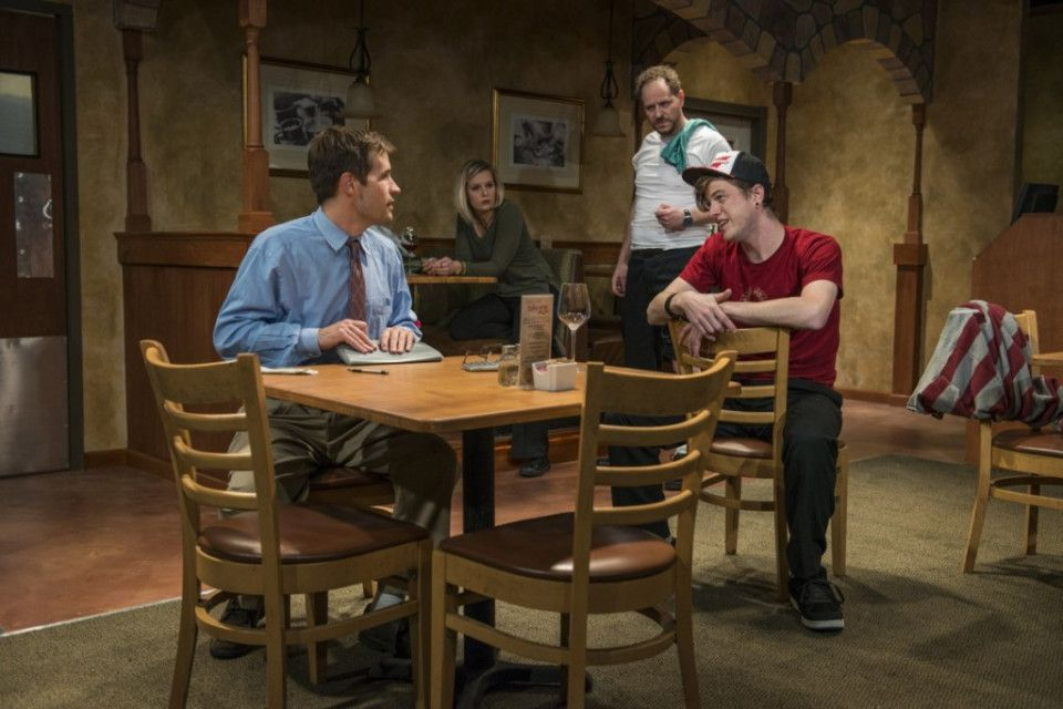 """Michael McKeough (from left), Allie Long, Bob Kruse and Morgan Maher in Griffin Theatre Company's Midwest premiere of """"Pocatello."""" (Photo: Michael Brosilow)"""