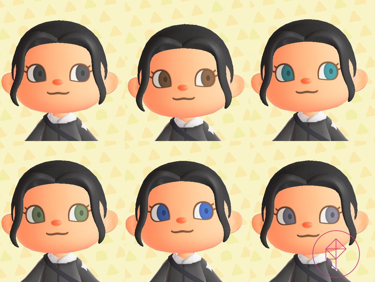 An Animal Crossing villager showing off six different eye colors: black, brown, teal, green, blue, and grey