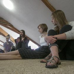 A group of home-schooled kids attend a debate class Friday, March 29, 2013, in Orem.