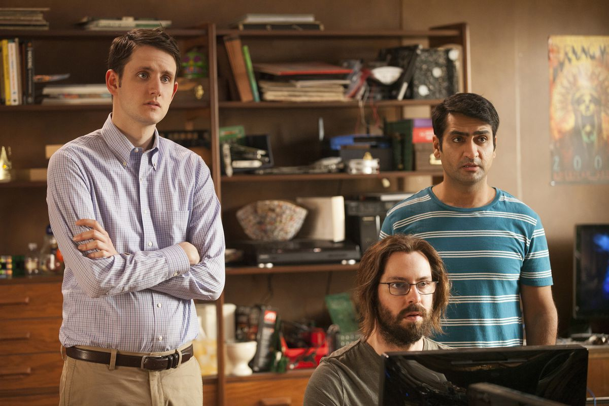 Zach Woods, Martin Starr, and Kumail Nanjiani in Silicon Valley.