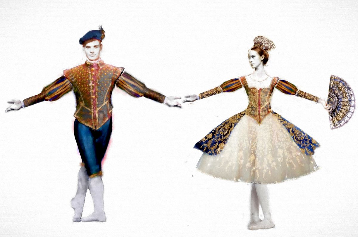 """Costume renderings for the Spanish duo in the new Joffrey Ballet production of """"The Nutcracker."""" (Photo: Courtesy of Joffrey Ballet)"""