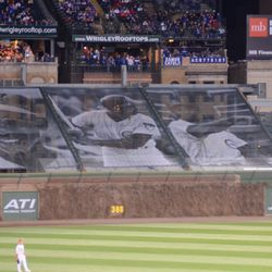 8:15 p.m. Ernie Banks tribute in right field -