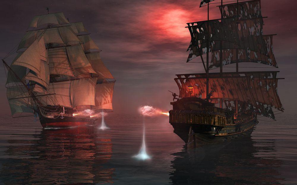 ships battling