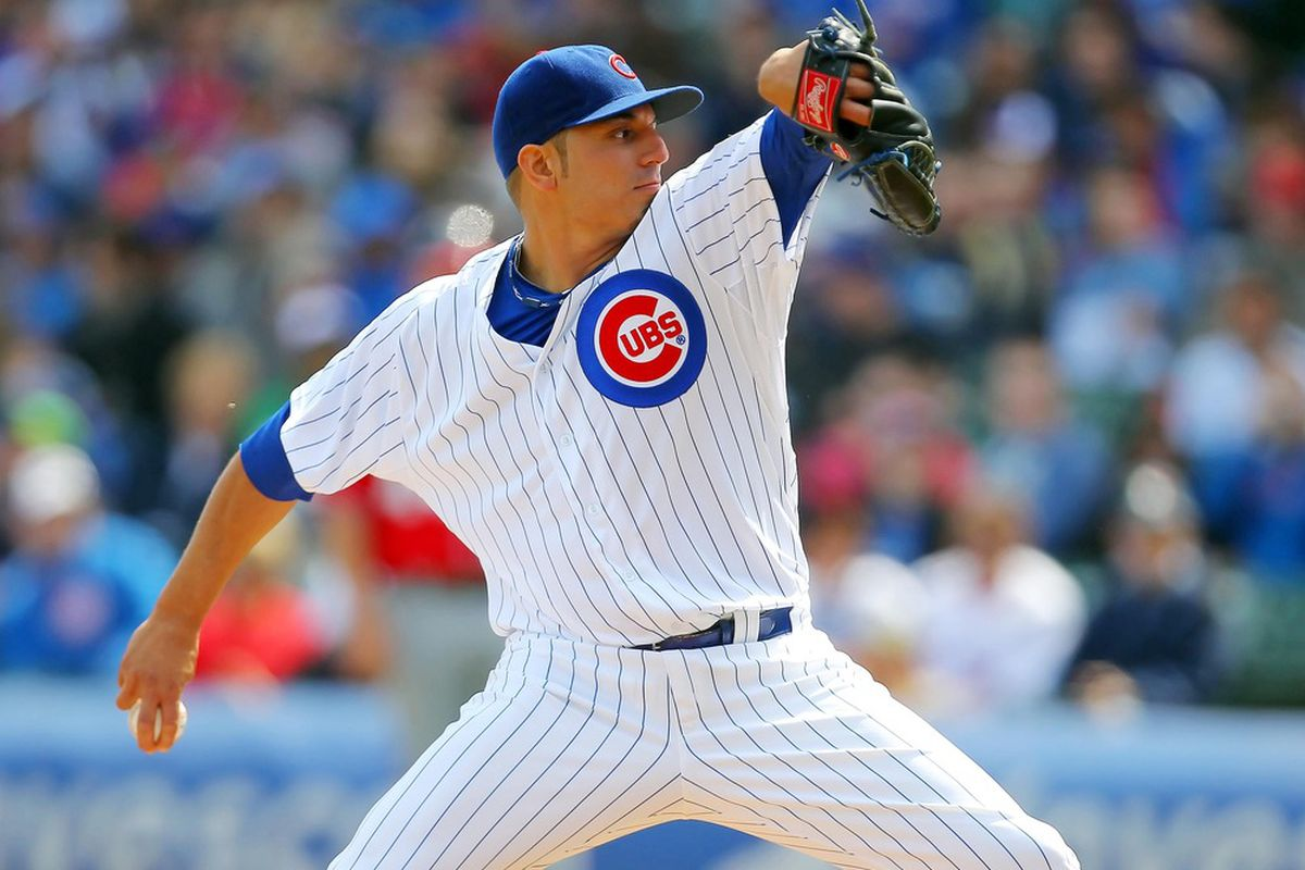 Apr 7, 2012; Chicago, IL, USA; Chicago Cubs starting pitcher Matt Garza (22) delivers a pitch during the first inning against the Washington Nationals at Wrigley Field. Mandatory Credit: Dennis Wierzbicki-US PRESSWIRE