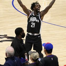 Los Angeles Clippers guard Patrick Beverley celebrates in the closing seconds during the second half in Game 6 of a second-round NBA basketball playoff series against the Utah Jazz Friday, June 18, 2021, in Los Angeles.