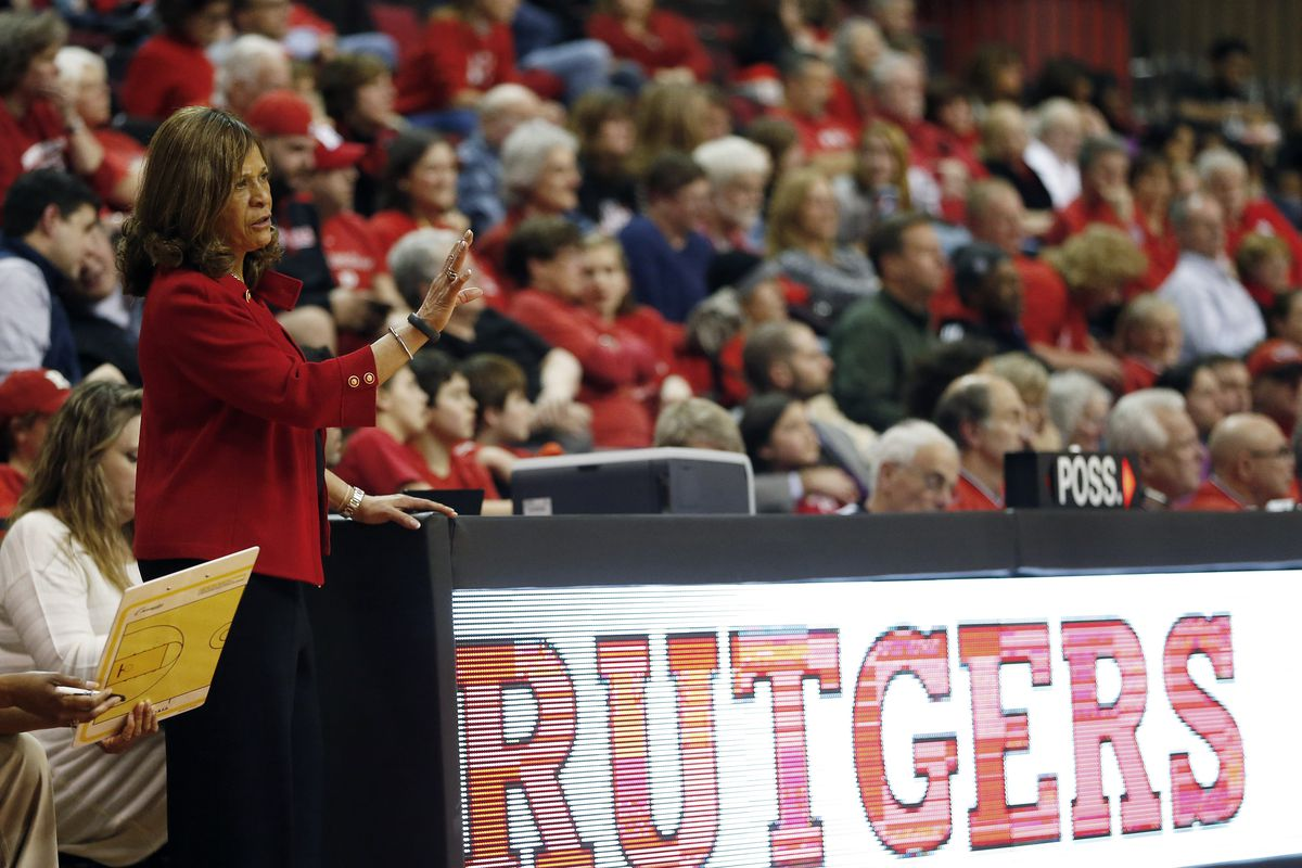 PISCATAWAY, NJ - FEBRUARY 26: Head coach C. Vivian Stringer of the Rutgers Scarlet Knights signals to her team during a game against the South Florida Bulls in a game at the Louis Brown Athletic Center on February 26, 2013 in Piscataway, New Jersey. Rutgers defeated South Florida 68-56 for Stringers' 900th career win. (Photo by Rich Schultz /Getty Images)