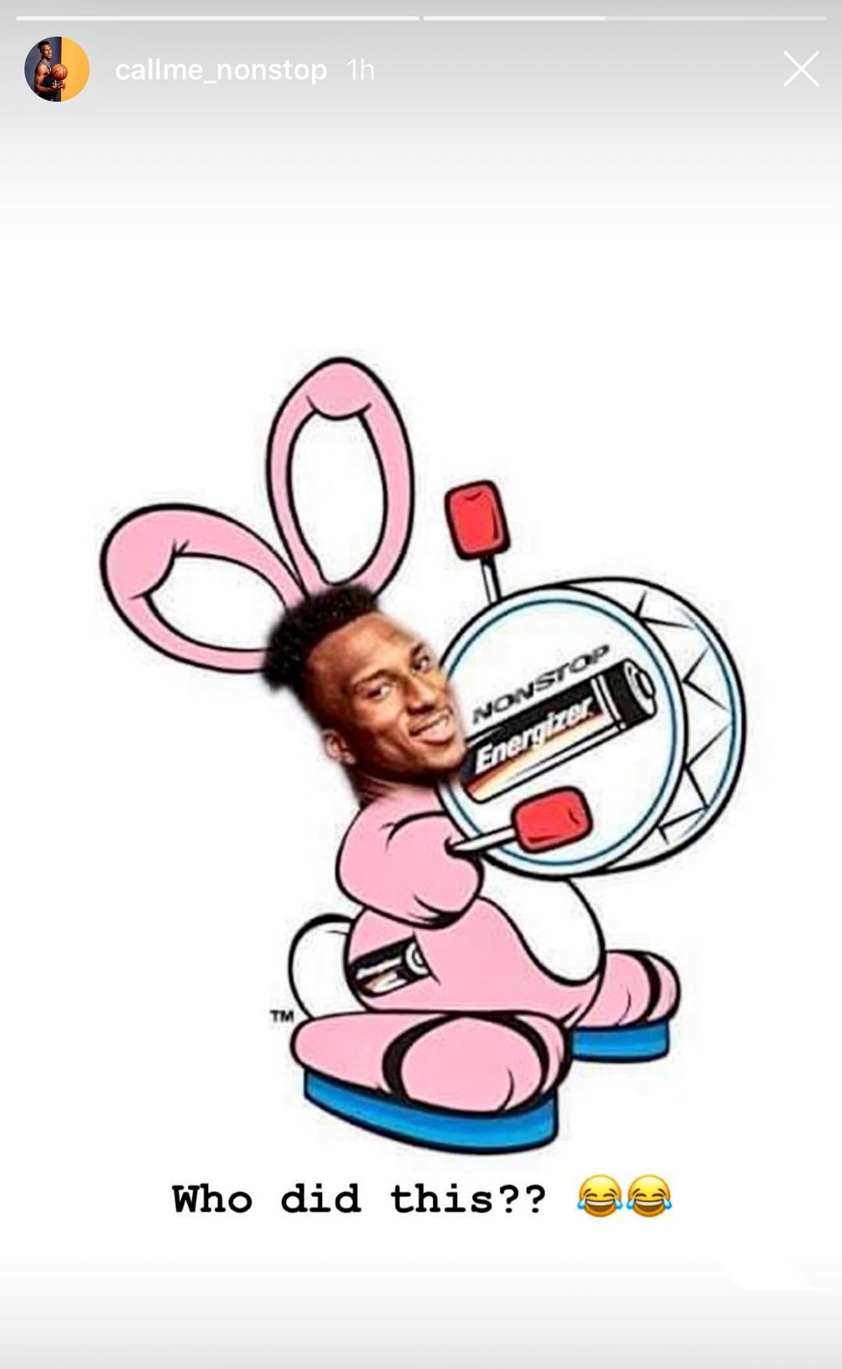 """Josh Okogie's face photoshopped onto the energizer bunny. He's taken a screenshot of this photo and captioned it """"Who Did This?"""" followed by two crying/laughing face emojis"""