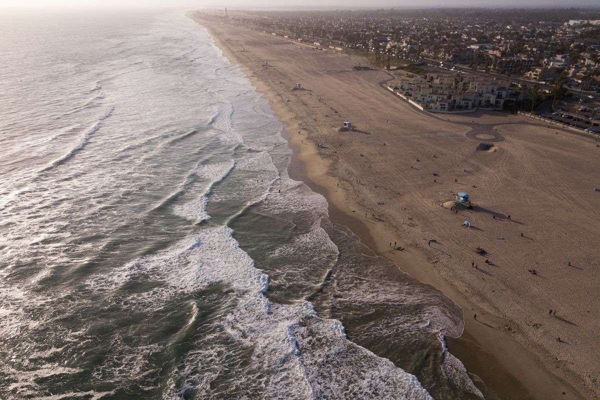 Aerial view of the beach in California