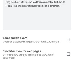 """The Chrome app for Android has its own """"Accessibility"""" setting."""