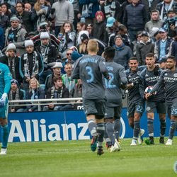 NYCFC players celebrate a goal during a 3-3 draw at Allianz Field