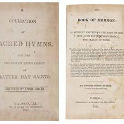 A page of a rare second edition of the church hymnal is shown, left, and the title page from a first edition of The Book of Mormon, right. The books each sold for $180,000 at public auction.