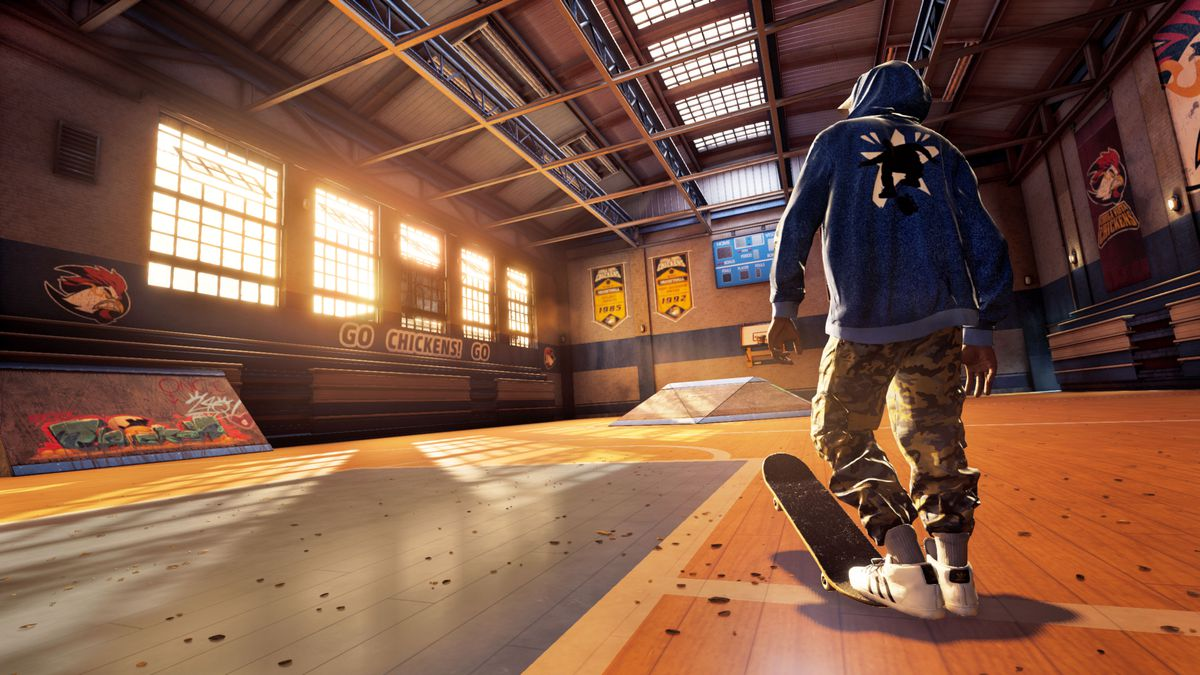 A skater gets ready to explore a gym