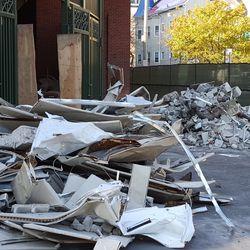 10:44 a.m. Debris outside the bleachers -