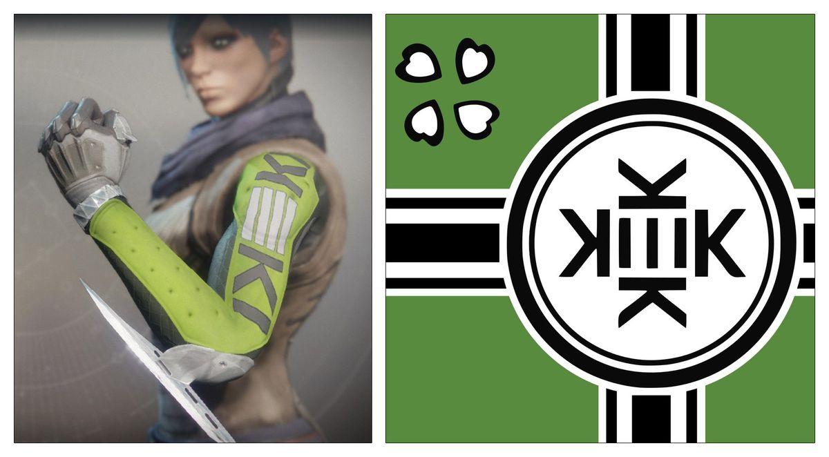 Destiny 2 - Road Complex AA1 gauntlets next to 'Kekistan' flag