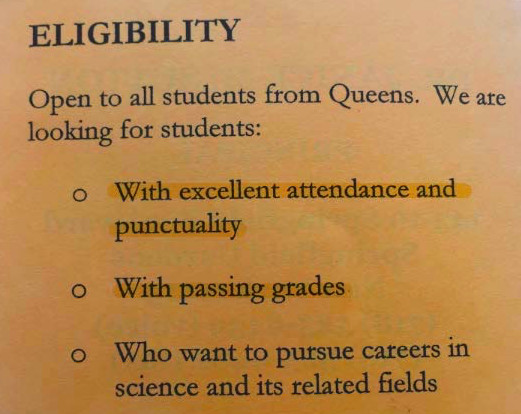 The brochure that representatives of George Washington Carver High School for the Sciences handed out at the high school fair.
