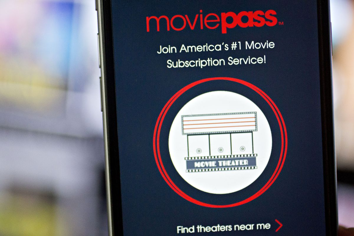 An image of the MoviePass app on a phone screen.