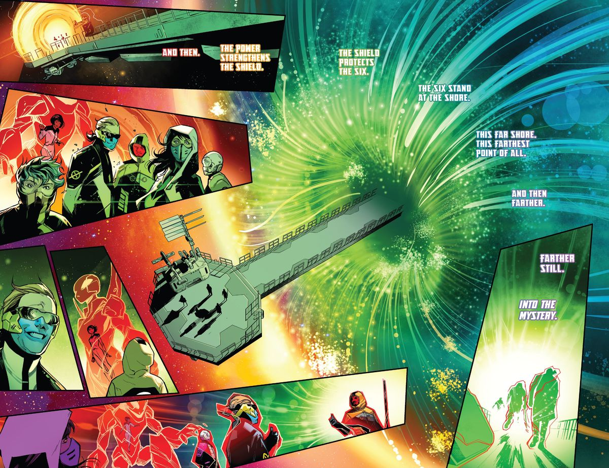 """The uniformed and masked-up agents of SWORD prepare to enter a giant green vortex they created on their space station. """"The six stand by the shore,"""" read giant letters, """"This far shore, this farthest point of all. And then farther. Farther still. Into the mystery,"""" in SWORD #1, Marvel Comics (2020)."""