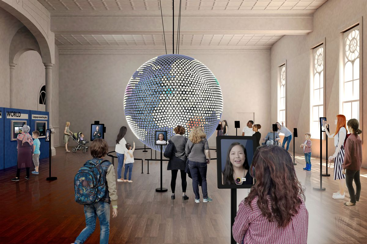 A rendering of a large open room with a big globe hanging from the ceiling. People are seen milling about the globe, and there are portraits of people around the room.