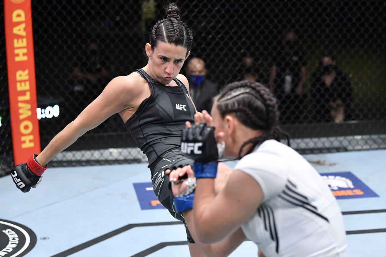 <label><a href='https://www.mvpboxing.com/news/mma/1620612584/UFC-Vegas-26-results-Rodriguez-wins-Cerrone-TKOd-by?ref=headlines' class='headline_anchor news_link'>UFC Vegas 26 results: Rodriguez wins, Cerrone TKO'd by Morono</a></label><br />Marina Rodriguez kicks Michelle Waterson at UFC Vegas 26. | Photo by Chris Unger/Zuffa LLC  Marina