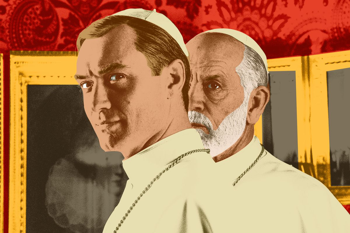 Jude Law and John Malkovich both wearing papal attire