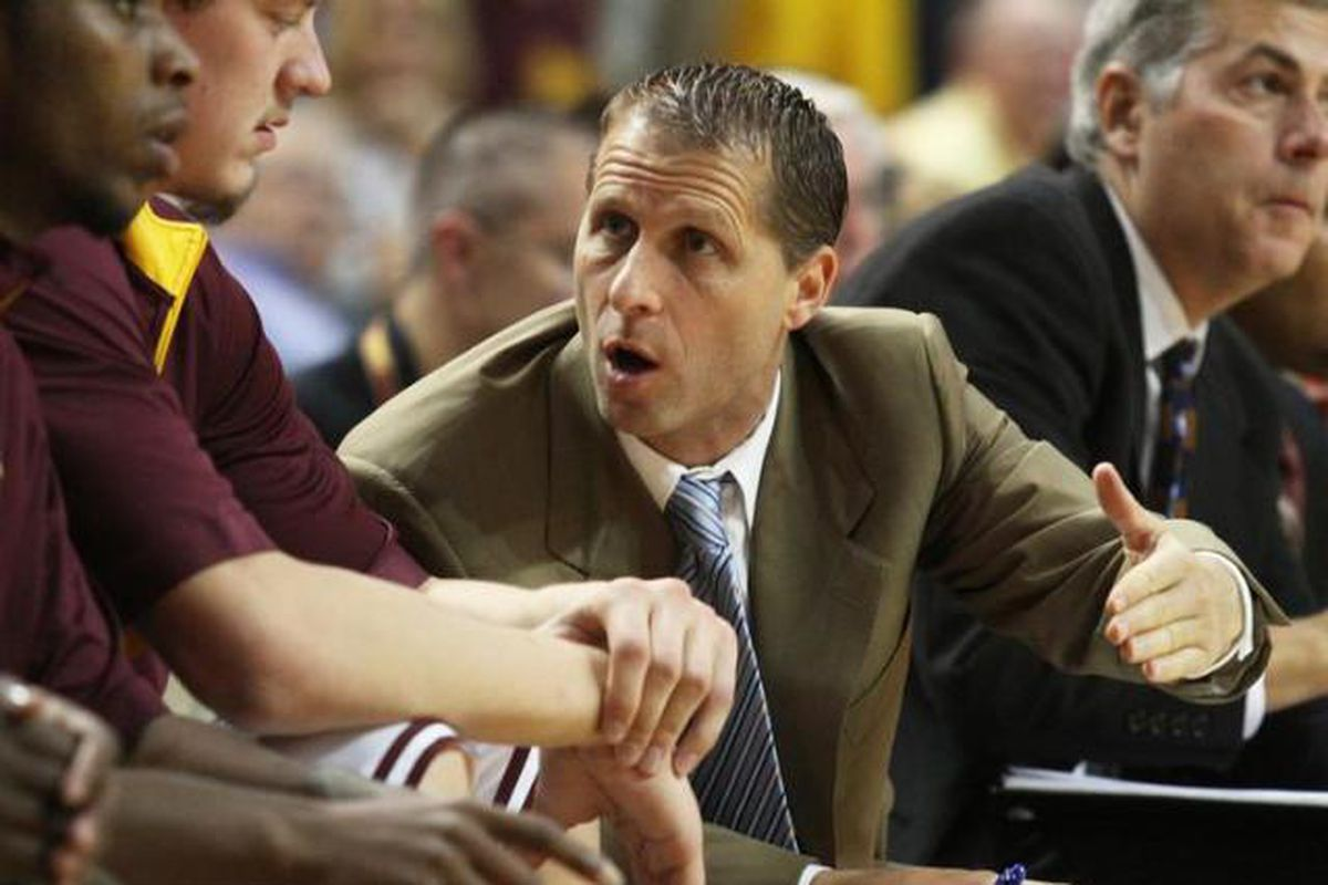 Eric Musselman sharing his immense knowledge, and experience with players as an assistant coach at Arizona State