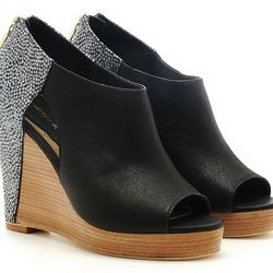 Trott cut-out wedge with embossed stingray heels, $200 (were $375)