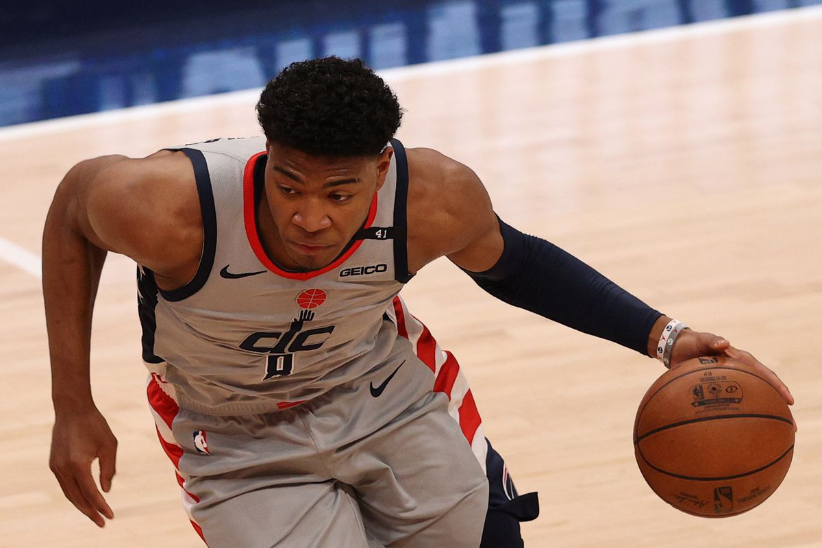 Rui Hachimura of the Washington Wizards in action against the Los Angeles Lakers at Capital One Arena on April 28, 2021 in Washington,
