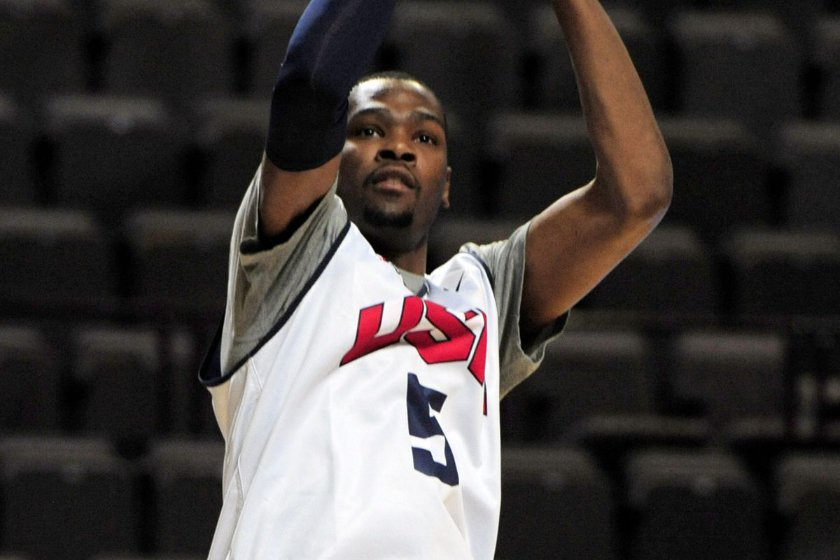 July 18, 2012; Manchester, UNITED KINGDOM; United States guard Kevin Durant (5) during training for the 2012 London Olympic Games warm-up match against Great Britain at the Manchester Evening News Arena.  Mandatory Credit: Joe Toth-US PRESSWIRE