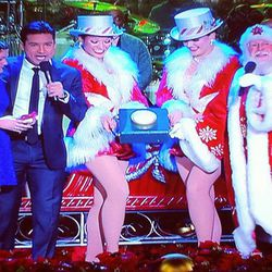 A Make-A-Wish foundation patient was invited on stage to light the tree