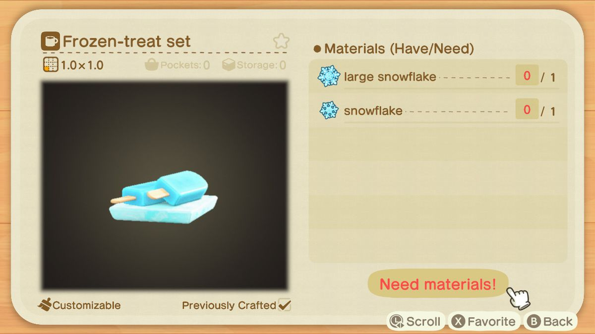 An Animal Crossing recipe for a Frozen Treat Set