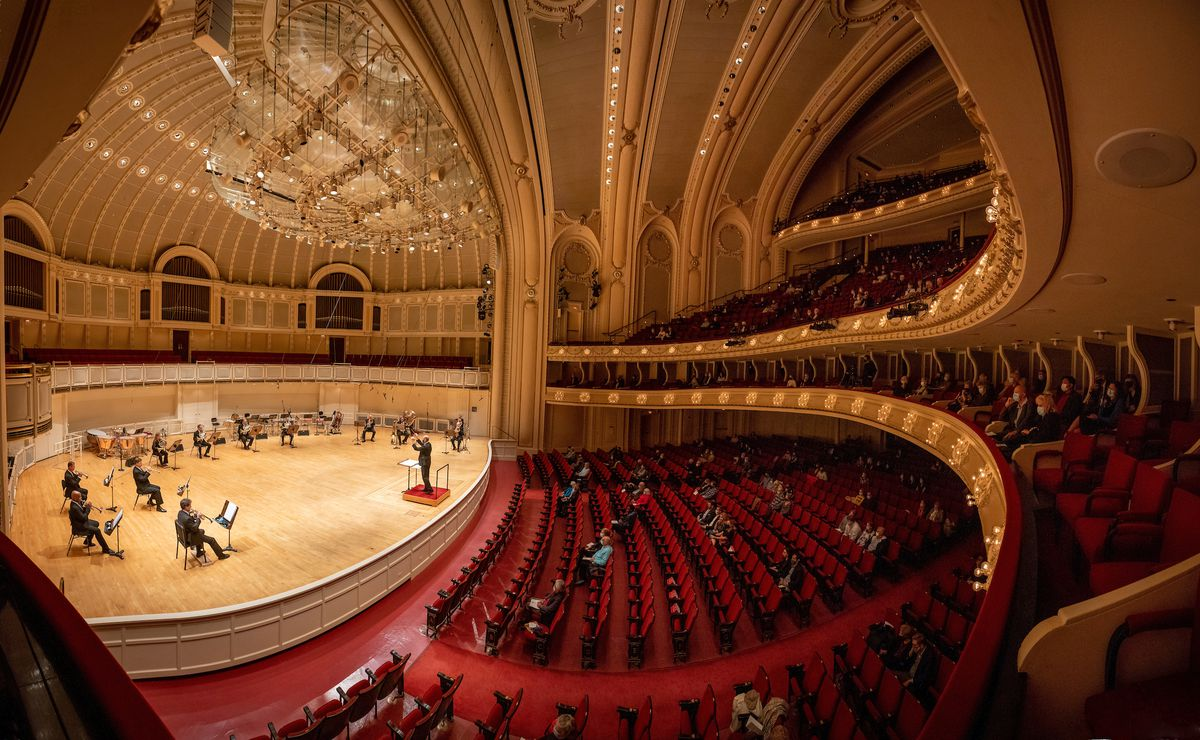 Only 328 patrons (out of a normally 2,522 capacity seating) were allowed to attend Thursday night's Chicago Symphony Orchestra concert at Orchestra Hall due to pandemic restrictions.