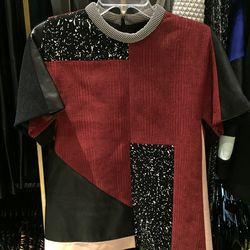Patchwork top with leather detail, $1,035 (was $3,450)