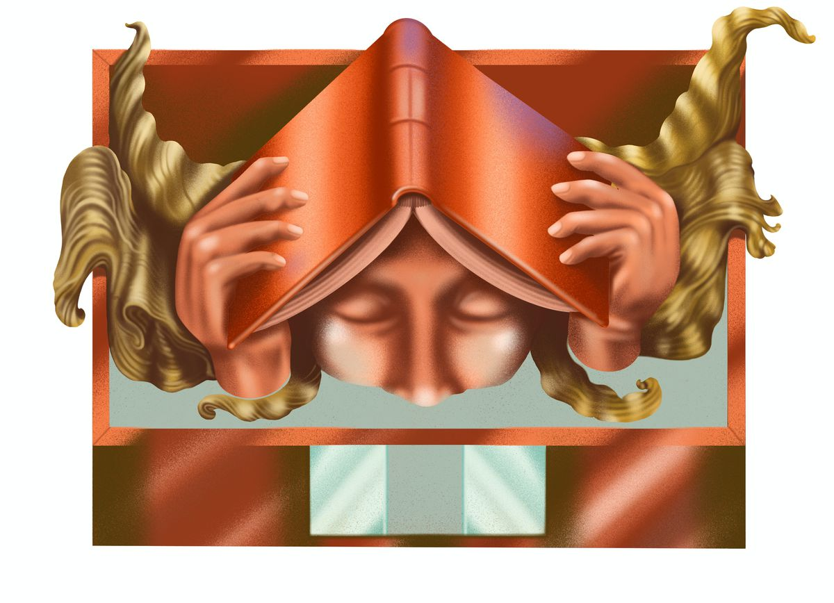 An illustration shows a woman close up gripping a book to her head.