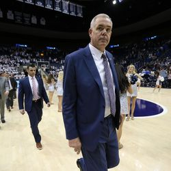Brigham Young Cougars head coach Dave Rose and his staff exit the floor after BYU lost to the University of Texas at Arlington in an NIT game at the Marriott Center in Provo, Utah on Wednesday, March 15, 2017.