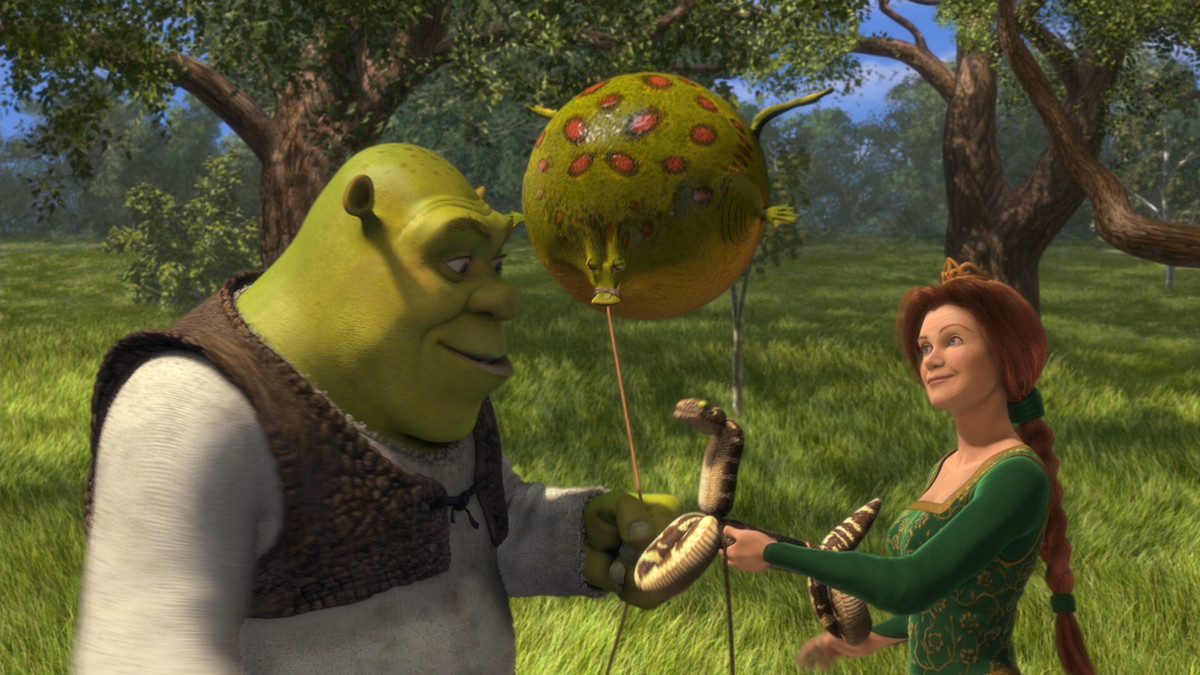 Shrek holding a frog blown up like a balloon