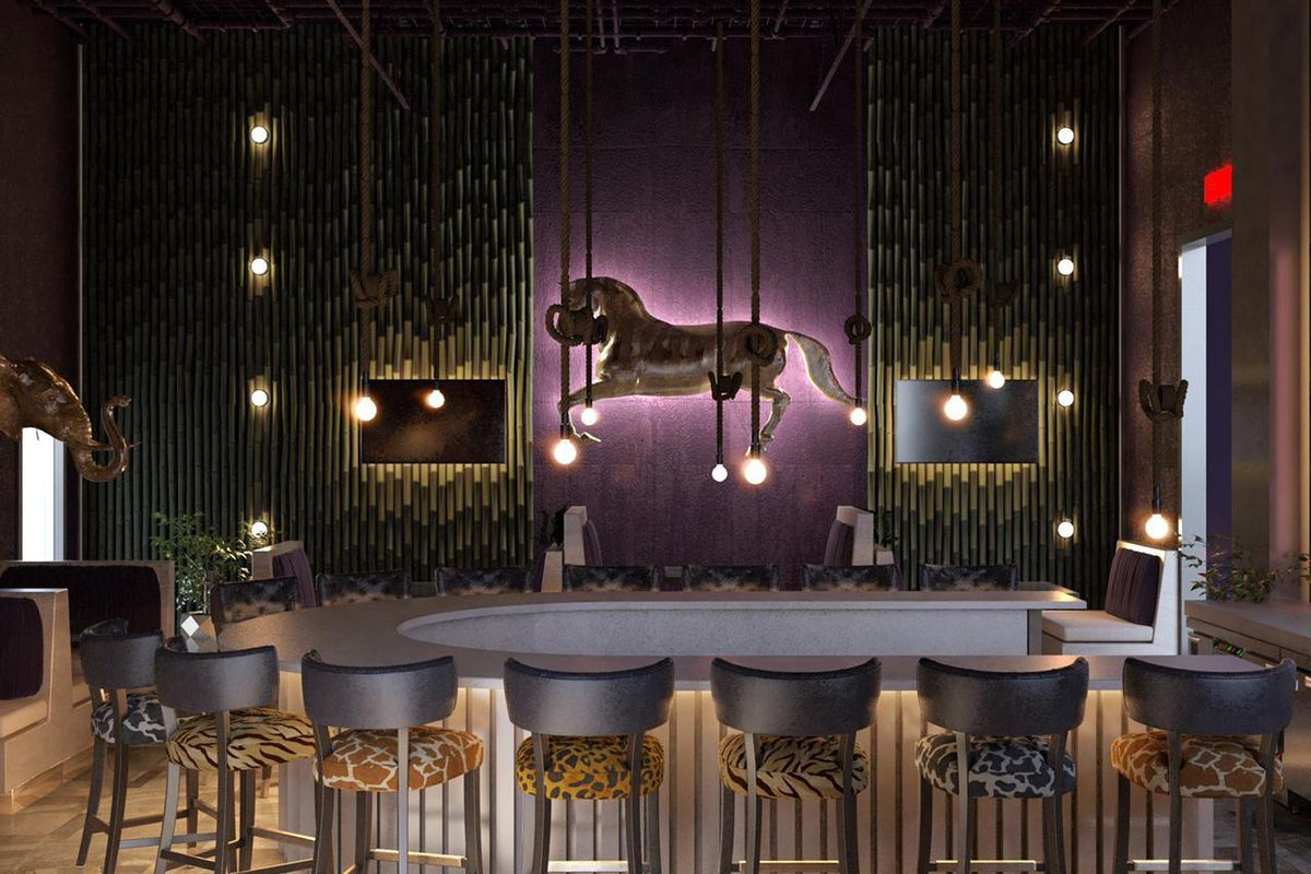 A rendering of a u-shaped bar decked in purple and black with leopard print bar stools surrounding it. A carousel horse hangs above the purple lit backbar at Zoo Bar in Grant Park Atlanta