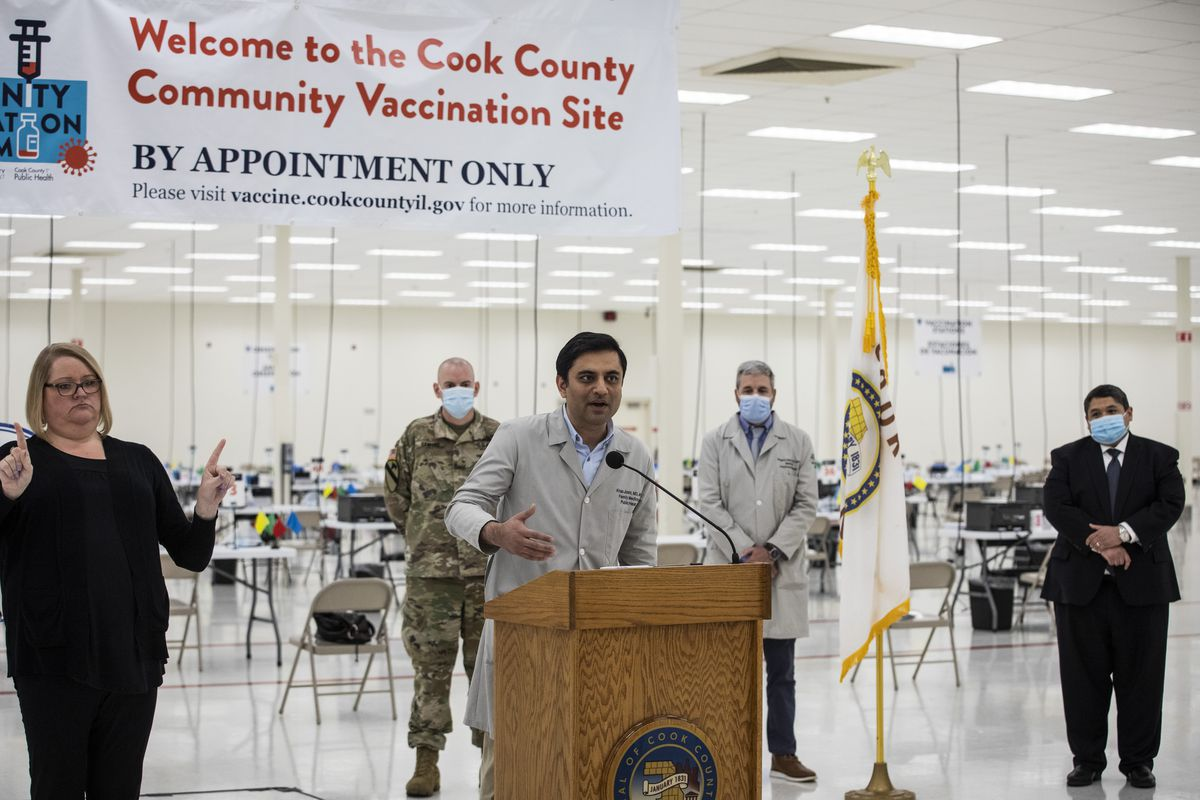 Dr. Kiran Joshi, co-lead and senior medical officer for the Cook County Department of Public Health, speaks during a news conference to announce the opening of the Matteson mass vaccination clinic in April. It will close July 21.