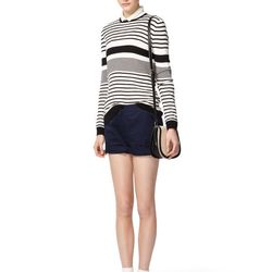 Look 14: Long-Sleeved Sailor Sweater in Black/Cream Stripes, $32.99 Long-Sleeved Blouse in White with Black Ribbon, $34.99 (Available at Target.com only) Also Available in Blush with White Dots Cuffed Shorts in Navy, $26.99 (Available at Target.com only)