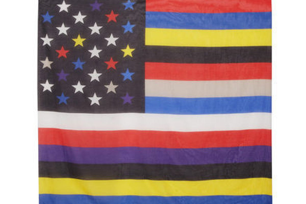 """<b>Givenchy</b> American Flag Scarf, <a href=""""http://www.net-a-porter.com/product/430364/Givenchy/square-scarf-140cm-x-140cm-american-flag"""">$590</a> at Net-a-Porter"""