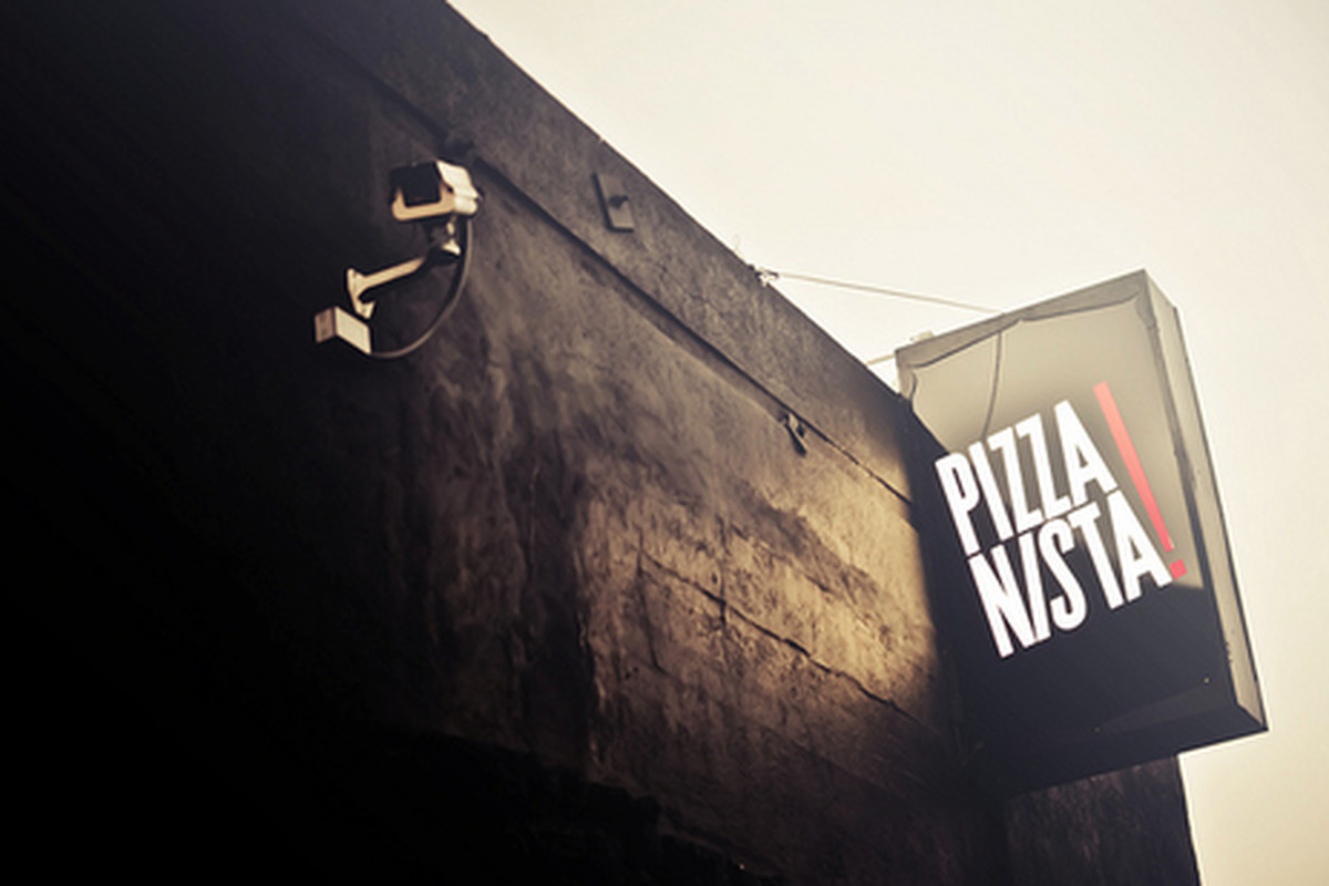 Outside PizzaNista, Downtown.