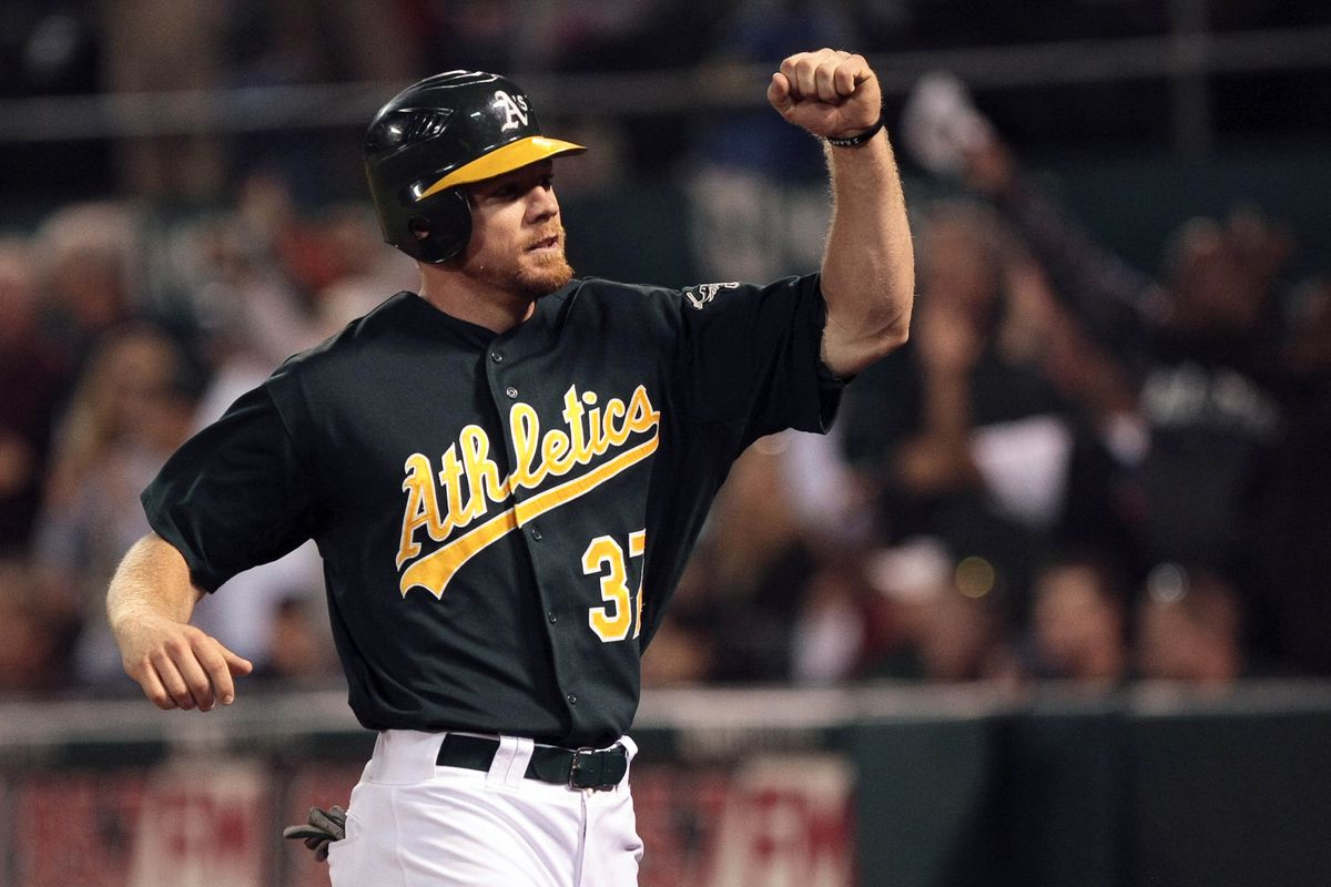 Brandon Moss celebrates the rare achievement of homering in 4 of the first 5 innings.