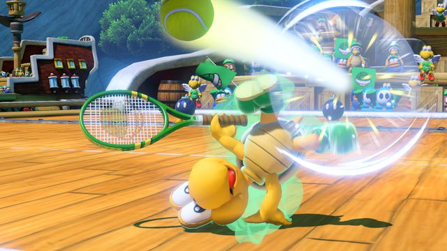 Koopa Troopa in <em>Mario Tennis Aces</em>. The character won't be available for everyone until August.