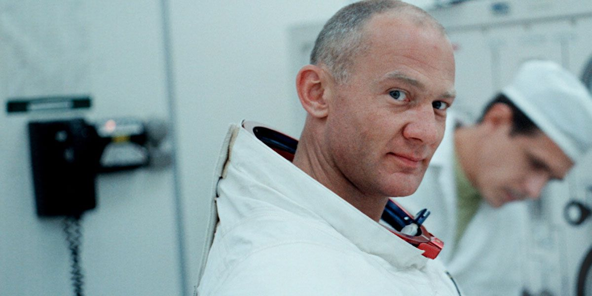 Buzz Aldrin in his spacesuit without his helmet in Apollo 11
