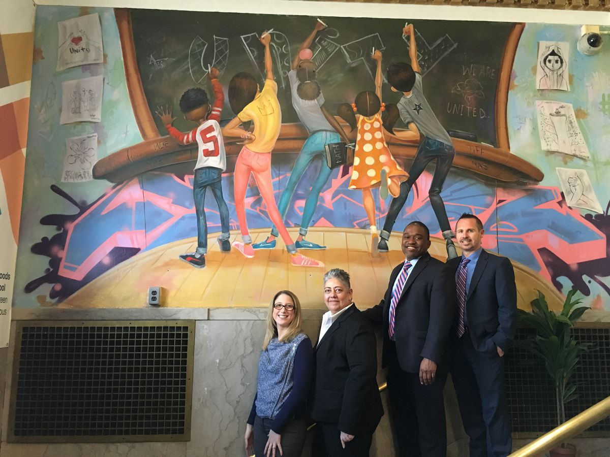 The four principals at the Richard R. Green campus left to right: Magdalen Neyra, Jeanette Vargas, Marlon Williams, Sean Licata