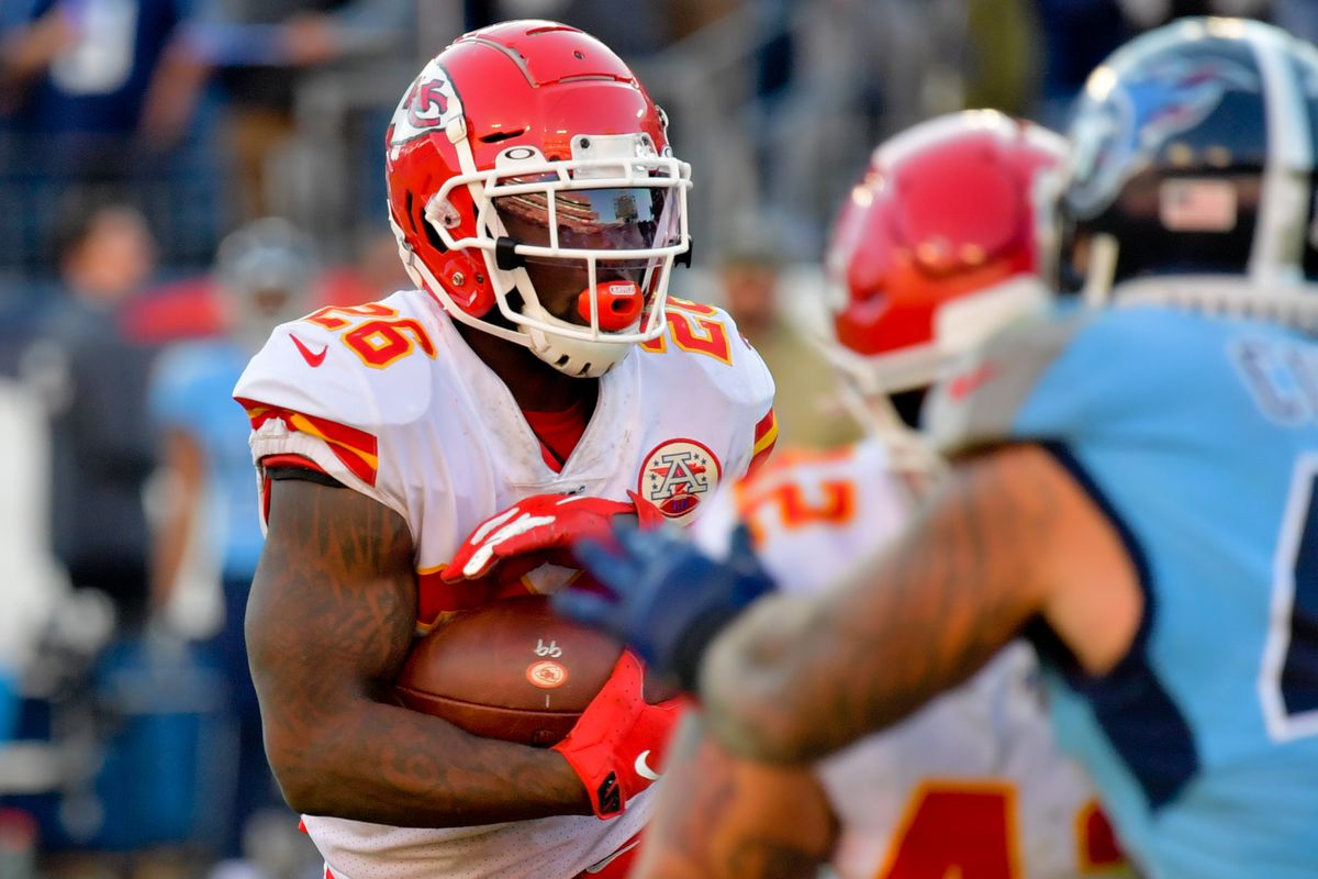 Kansas City Chiefs running back Damien Williams rushes against the Tennessee Titans during the second half at Nissan Stadium.