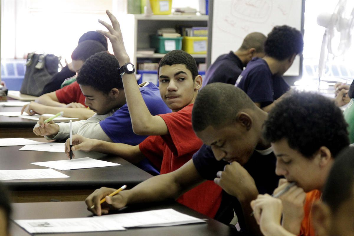 In a March 3, 2011 photo, students attend a Global History class at the Washington Heights Expeditionary Learning School, in New York.